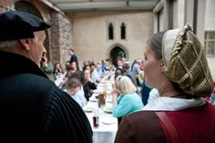 """The """"Luther pair"""" Martin Luther and Katharina von Bora welcome the LWF Council members and guests at Lutherhaus in Wittenberg. #Day274 until the Twelfth Assembly. #Assembly365"""