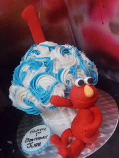 Elmo Themed Jumbo Cupcake