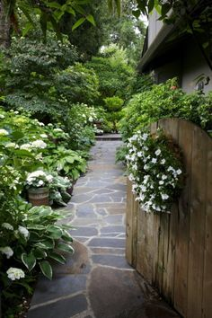 Lovely white shade garden! Really like the living wreath of impatiens on the gate!
