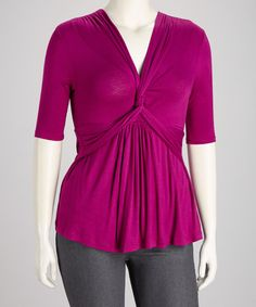 Take a look at this Magenta Maven Twist-Front Caycee Plus-Size Top by KIYONNA on #zulily today!