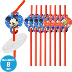 Mickey Mouse Straws with Lids 8ct - Party City