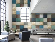 Dare to be square and choose TIN TILES wallpaper for the wall.