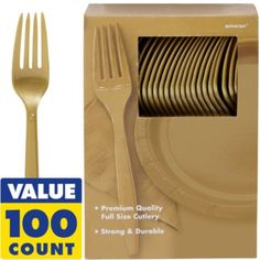 Gold Premium Plastic Forks 100ct - Party City