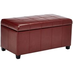 First Hill Damara Lift-Top Storage Ottoman Bench with Faux-Leather Upholstery, Earthy Red Leather Storage Bench, Leather Bench, Upholstered Storage Bench, Bed Storage, Upholstered Chairs, Bedding Storage, Sofa Bed With Drawers, Kids Table And Chairs, Outdoor Living