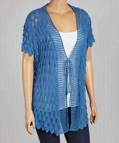 Nancy Yang Peacock Crochet Cape-Sleeve Cardigan - Plus by Nancy Yang #zulily #zulilyfinds