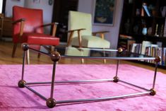 Chrome and Glass Coffee Table Chrome, Side Table, Wood, Table, Glass, Mid Century Armchair, Glass Coffee Table, Home Decor, Coffee Table