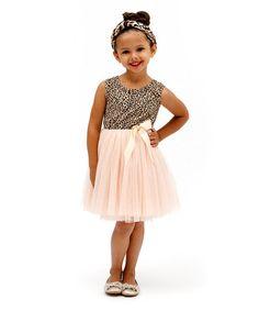Look at this #zulilyfind! Pink & Tan Miss Pussycat Tutu Dress - Infant, Toddler & Girls #zulilyfinds