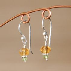 Citrine and Peridot Earrings by juditmdesigns for $18.00