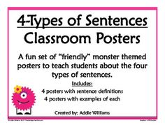 FREE set of friendly monster themed posters to teach students the 4 types of sentences. (Exclamatory, Declarative, Imperative, and Interogative)...