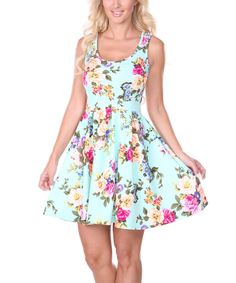 Love this Mint Spring Floral Skater Dress by White Mark on #zulily! #zulilyfinds