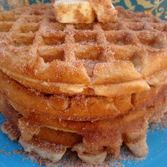 Churro Waffles Recipe - ZipList Pretty good and definitely sweet!
