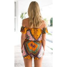 Boho printed jumpsuits off shoulder rompers plus size - Slim Wallet Company