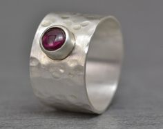 Wide Band Ruby Gemstone Ring, Sterling Silver Ring, Hammered Finish, Size 8.5 Ring, Handmade Modern Ring by Mark White Designs