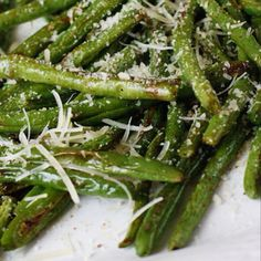 Roasted Green Beans with Parmesan. My son never eats green beans and he gobbled these right up!