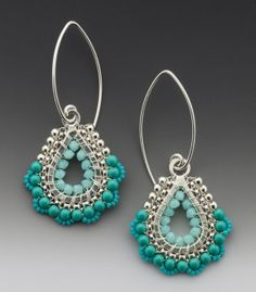 $120 - Drop, Dangle, Paisley Earrings in Sea Foam colored Beadwork
