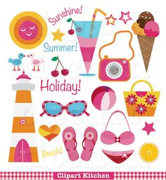 Beach Fun Digital Clipart Set  Personal and by ClipartKitchen