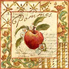 Groente & Fruit New Kitchen Inspiration, Mary Engelbreit, Kitchen Wall Art, Vintage Cards, Cute Drawings, Food Pictures, Vintage Christmas, Illustration Art, Paper Crafts