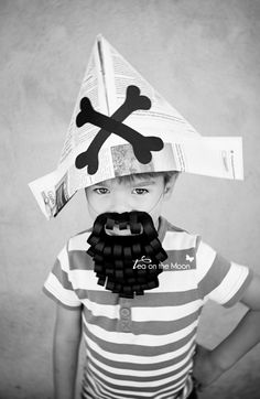 Arts And Crafts For Kids Product Pirate Activities, Moon Activities, Diy For Kids, Cool Kids, Newspaper Hat, Pirate Crafts, Kid Crafts, Homemade Pirate Costumes, Pirate Kids