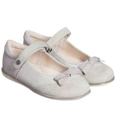 Mayoral Girls Silver Metallic Suede Leather Shoes at Childrensalon.com