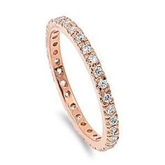 Rose Goldplated Stackable Cubic Zirconia Eternity Ring