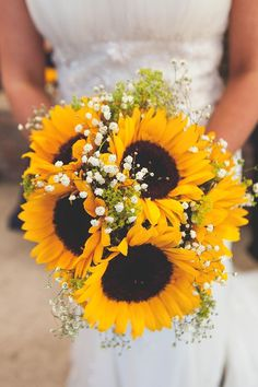 Bouquet Flowers Bride Bridal Navy Yellow Sunflowers Brewery Wedding