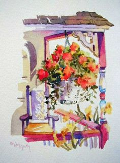 Porch vignette, painting by artist Kay Smith