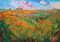 Impressionist flowers painted in impasto textured oils, by California artist Erin Hanson