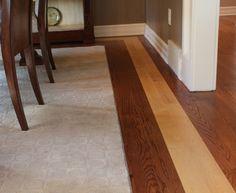 Carpet inlay with hardwood surround