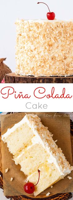 This Pina Colada Cake turns your favourite tropical cocktail into one delicious dessert! Rum flavoured cake and frosting paired with pineapple filling and toasted coconut. | livforcake.com