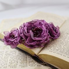 purple hair barrette hair clasp floral by Fantazzihandmade on Etsy