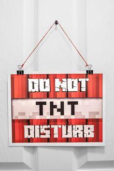 Do Not Disturb TNT Minecraft Bedroom Door Sign / by tabvisuals, $3.98