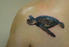 Realistic sea turtle by Ryson Lapenia