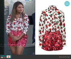 Mindy's rose print shirt and shorts on The Mindy Project.  Outfit Details: https://wornontv.net/57601/ #TheMindyProject