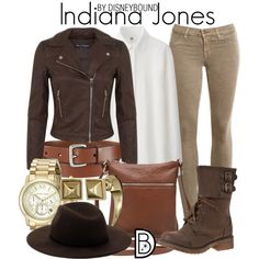 Indiana Jones by leslieakay on Polyvore featuring Uniqlo, Miss Selfridge, J Brand, M&Co, Michael Kors, Rebecca Minkoff, Forever 21, disney, disneybound and disneycharacter