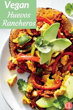 Our plant-powered riff on huevos rancheros is just as flavorful and hearty as the classic. Cooking crumbled firm tofu in a skillet achieves the fluffy texture of scrambled eggs, while turmeric adds the quintessential golden hue. Soy chorizo is full of zesty south-of-the-border spice, making it almost indistinguishable from traditional Mexican pork chorizo. | Cooking Light