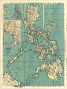 Philippines Islands old map, 1924.