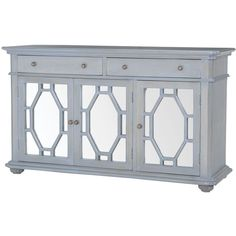 Presidio Buffet Cabinet in Gravesend Grey w/ Mirror Front ($1,142) ❤ liked on Polyvore featuring home, furniture, storage & shelves, sideboards, grey furniture, gray buffet, grey buffet and gray furniture