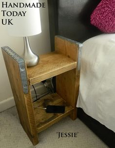 Handmade Rustic Industrial Bedside Cabinet made from Reclaimed Scaffold Boards by HandmadeTodayUK on Etsy