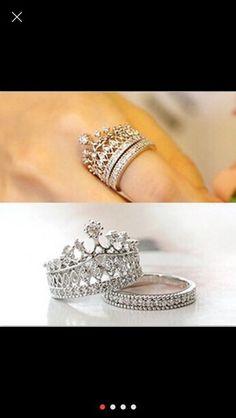 Rhinestone crown cz ring size 9. Starting at $1