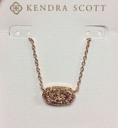"""- Rose Gold Plated Over Brass - Size: 0.63""""L x 0.38""""W stationary pendant, 15"""" chain with 2"""" extender - Lobster claw closure - Material: rose gold drusy* - Choker short necklace *Please note: Due to th"""