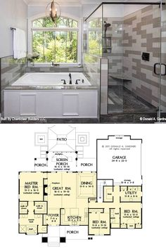 Single-Story The Baskerville Home (Floor Plan) Ranch House Plans, Dream House Plans, Small House Plans, House Floor Plans, European Style Homes, European House, Future House, My House, Wooden Dining Set