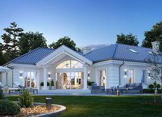 Projekt domu Willa Parkowa 6 207,29 m² - koszt budowy - EXTRADOM House Plans Mansion, My House Plans, Family House Plans, Modern Bungalow Exterior, Modern Bungalow House, Modern House Design, Village House Design, Beautiful House Plans, House Design Pictures