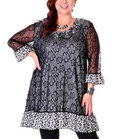 Look what I found on #zulily! Black Leopard Lace Rosette Tunic - Plus #zulilyfinds