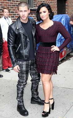 Nick Jonas & Demi Lovato from The Big Picture: Today's Hot Pics  The touring best friends stop byThe Late Show with Stephen Colbert in New York City.