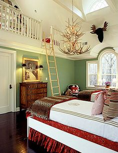 """Unused attic space is turned into a """"loft"""" spot in a bedroom.  That would be so great for a kid old enough to manage the ladder - their own """"secret"""" room - and a way to keep the clutter down in the main room"""