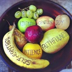 "Fruits of the Spirit...cute way to introduce the ""fruits"" of the spirit. Write the words on pieces of plastic fruit and add to a bowl."