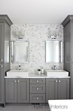 A Marble Inspired Ensuite Bathroom (Budget Friendly too!) #SterlingSilverBenjaminMoore