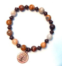 Nature girl tree bracelet made with 8mm Crazy Lace Agate adorned with Antique…