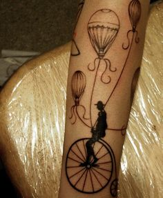 Unicycle and hot air balloon tattoo Bicycle Tattoo, Bike Tattoos, Body Art Tattoos, Tatoos, Great Tattoos, Beautiful Tattoos, Air Balloon Tattoo, Beste Tattoo, Future Tattoos