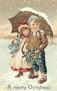 Vintage Christmas Fabric Block Victorian Kids Umbrella Snowy All Good Wishes Victorian Christmas, Vintage Christmas Cards, Vintage Holiday, Xmas Cards, Vintage Cards, Vintage Postcards, Christmas Scenes, Christmas Tag, Christmas Pictures